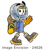 #24626 Clip Art Graphic Of A Blue Handled Magnifying Glass Cartoon Character Hiking And Carrying A Backpack