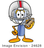 #24628 Clip Art Graphic Of A Blue Handled Magnifying Glass Cartoon Character In A Helmet Holding A Football