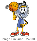 #24630 Clip Art Graphic Of A Blue Handled Magnifying Glass Cartoon Character Spinning A Basketball On His Finger