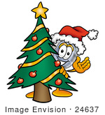 #24637 Clip Art Graphic Of A Blue Handled Magnifying Glass Cartoon Character Waving And Standing By A Decorated Christmas Tree