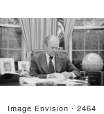 #2464 Gerald Ford Working at His Desk, Smoking a Pipe by JVPD
