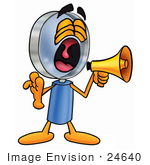 #24640 Clip Art Graphic Of A Blue Handled Magnifying Glass Cartoon Character Screaming Into A Megaphone