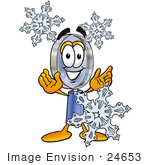 #24653 Clip Art Graphic Of A Blue Handled Magnifying Glass Cartoon Character With Three Snowflakes In Winter