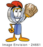 #24661 Clip Art Graphic Of A Blue Handled Magnifying Glass Cartoon Character Catching A Baseball With A Glove
