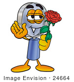 #24664 Clip Art Graphic Of A Blue Handled Magnifying Glass Cartoon Character Holding A Red Rose On Valentines Day