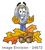 #24672 Clip Art Graphic Of A Blue Handled Magnifying Glass Cartoon Character With Autumn Leaves And Acorns In The Fall