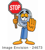 #24673 Clip Art Graphic Of A Blue Handled Magnifying Glass Cartoon Character Holding A Stop Sign