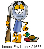 #24677 Clip Art Graphic Of A Blue Handled Magnifying Glass Cartoon Character Duck Hunting Standing With A Rifle And Duck