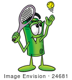 #24681 Clip Art Graphic Of A Rolled Greenback Dollar Bill Banknote Cartoon Character Preparing To Hit A Tennis Ball