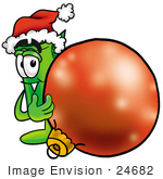 #24682 Clip Art Graphic Of A Rolled Greenback Dollar Bill Banknote Cartoon Character Wearing A Santa Hat Standing With A Christmas Bauble