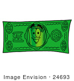 #24693 Clip Art Graphic Of A Rolled Greenback Dollar Bill Banknote Cartoon Character On A Dollar Bill