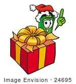 #24695 Clip Art Graphic Of A Rolled Greenback Dollar Bill Banknote Cartoon Character Standing By A Christmas Present