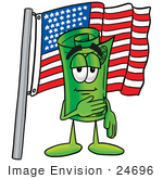 #24696 Clip Art Graphic Of A Rolled Greenback Dollar Bill Banknote Cartoon Character Pledging Allegiance To An American Flag