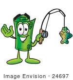 #24697 Clip Art Graphic Of A Rolled Greenback Dollar Bill Banknote Cartoon Character Holding A Fish On A Fishing Pole