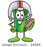 #24699 Clip Art Graphic Of A Rolled Greenback Dollar Bill Banknote Cartoon Character In A Helmet Holding A Football