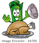 #24700 Clip Art Graphic Of A Rolled Greenback Dollar Bill Banknote Cartoon Character Serving A Thanksgiving Turkey On A Platter