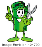 #24702 Clip Art Graphic Of A Rolled Greenback Dollar Bill Banknote Cartoon Character Holding A Pair Of Scissors