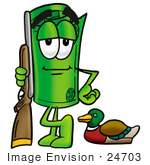 #24703 Clip Art Graphic Of A Rolled Greenback Dollar Bill Banknote Cartoon Character Duck Hunting Standing With A Rifle And Duck