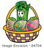 #24704 Clip Art Graphic Of A Rolled Greenback Dollar Bill Banknote Cartoon Character In An Easter Basket Full Of Decorated Easter Eggs