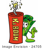 #24705 Clip Art Graphic Of A Rolled Greenback Dollar Bill Banknote Cartoon Character Standing With A Lit Stick Of Dynamite