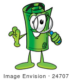 #24707 Clip Art Graphic Of A Rolled Greenback Dollar Bill Banknote Cartoon Character Looking Through A Magnifying Glass