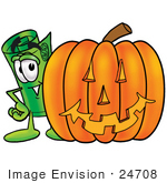 #24708 Clip Art Graphic Of A Rolled Greenback Dollar Bill Banknote Cartoon Character With A Carved Halloween Pumpkin