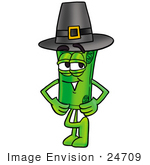 #24709 Clip Art Graphic Of A Rolled Greenback Dollar Bill Banknote Cartoon Character Wearing A Pilgrim Hat On Thanksgiving