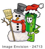 #24713 Clip Art Graphic Of A Rolled Greenback Dollar Bill Banknote Cartoon Character With A Snowman On Christmas