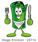 #24714 Clip Art Graphic Of A Rolled Greenback Dollar Bill Banknote Cartoon Character Holding A Knife And Fork