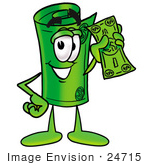 #24715 Clip Art Graphic Of A Rolled Greenback Dollar Bill Banknote Cartoon Character Holding A Dollar Bill