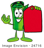 #24716 Clip Art Graphic Of A Rolled Greenback Dollar Bill Banknote Cartoon Character Holding A Red Sales Price Tag