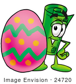 #24720 Clip Art Graphic Of A Rolled Greenback Dollar Bill Banknote Cartoon Character Standing Beside An Easter Egg