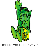 #24722 Clip Art Graphic Of A Rolled Greenback Dollar Bill Banknote Cartoon Character Plugging His Nose While Jumping Into Water