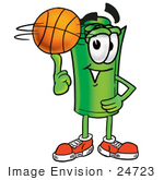 #24723 Clip Art Graphic Of A Rolled Greenback Dollar Bill Banknote Cartoon Character Spinning A Basketball On His Finger