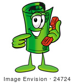 #24724 Clip Art Graphic Of A Rolled Greenback Dollar Bill Banknote Cartoon Character Holding A Telephone