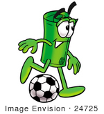 #24725 Clip Art Graphic Of A Rolled Greenback Dollar Bill Banknote Cartoon Character Kicking A Soccer Ball