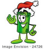 #24726 Clip Art Graphic Of A Rolled Greenback Dollar Bill Banknote Cartoon Character Wearing A Santa Hat And Waving