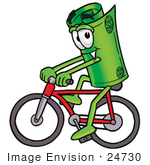 #24730 Clip Art Graphic Of A Rolled Greenback Dollar Bill Banknote Cartoon Character Riding A Bicycle