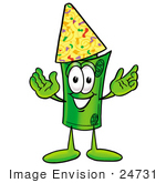 #24731 Clip Art Graphic Of A Rolled Greenback Dollar Bill Banknote Cartoon Character Wearing A Birthday Party Hat