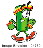 #24732 Clip Art Graphic Of A Rolled Greenback Dollar Bill Banknote Cartoon Character Speed Walking Or Jogging
