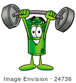 #24736 Clip Art Graphic Of A Rolled Greenback Dollar Bill Banknote Cartoon Character Holding A Heavy Barbell Above His Head