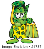 #24737 Clip Art Graphic Of A Rolled Greenback Dollar Bill Banknote Cartoon Character In Green And Yellow Snorkel Gear