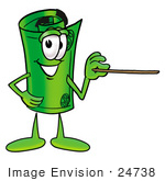 #24738 Clip Art Graphic Of A Rolled Greenback Dollar Bill Banknote Cartoon Character Holding A Pointer Stick