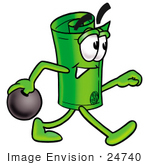 #24740 Clip Art Graphic Of A Rolled Greenback Dollar Bill Banknote Cartoon Character Holding A Bowling Ball
