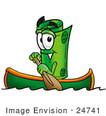 #24741 Clip Art Graphic Of A Rolled Greenback Dollar Bill Banknote Cartoon Character Rowing A Boat