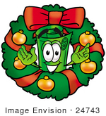 #24743 Clip Art Graphic Of A Rolled Greenback Dollar Bill Banknote Cartoon Character In The Center Of A Christmas Wreath