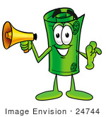 #24744 Clip Art Graphic Of A Rolled Greenback Dollar Bill Banknote Cartoon Character Holding A Megaphone