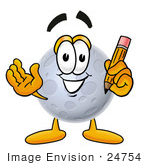 #24754 Clip Art Graphic Of A Full Moon Cartoon Character Holding A Pencil