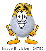 #24755 Clip Art Graphic Of A Full Moon Cartoon Character Wearing A Hardhat Helmet