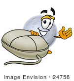 #24758 Clip Art Graphic Of A Full Moon Cartoon Character With A Computer Mouse